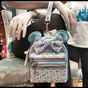 Arendelle Aqua Blue Frozen Mini Backpack Wristlet.